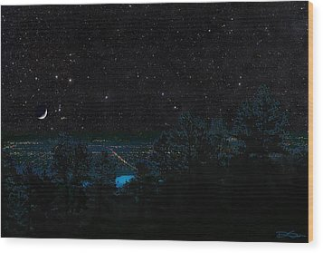 Fort Collins Colorado At Night Wood Print by Ric Soulen