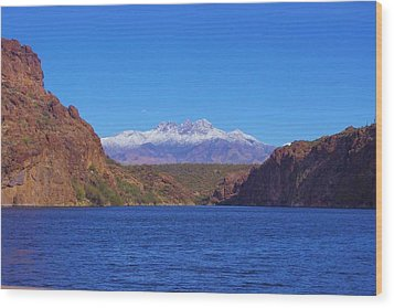 Four Peaks In Winter Wood Print by David Rizzo