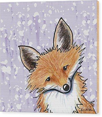 Fox On Lavender Wood Print by Kim Niles
