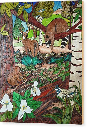 Frends Of The Forest Wood Print by Mike Holder