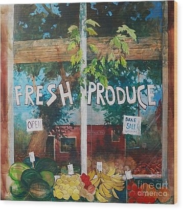 Fresh Produce Wood Print by Micheal Jones