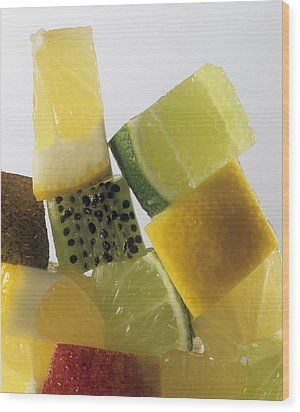 Fruit Squares Wood Print by Veronique Leplat