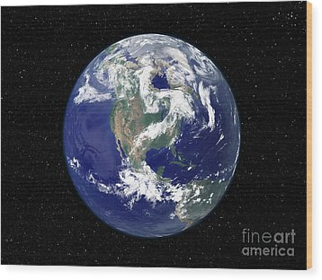 Fully Lit Earth Centered On North Wood Print by Stocktrek Images