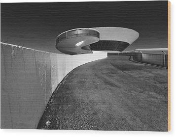 Futuristic Shapes Wood Print by George Oze