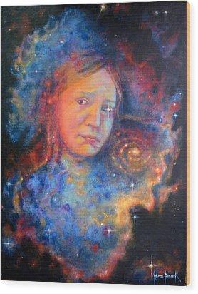 Galaxy Girl Wood Print by Karen Roncari