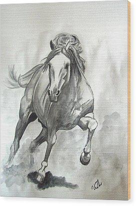 Galloping Horse Wood Print by Ursula  Thuleweit Laranjeiro