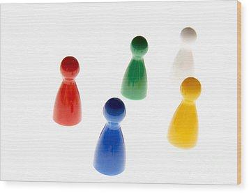 Game Pieces In Various Colours Wood Print by Bernard Jaubert