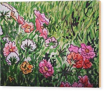 Garden Flowers Sketchbook Project Down My Street Wood Print by Irina Sztukowski