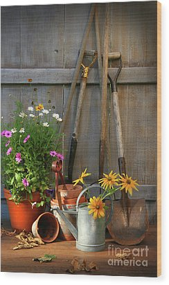 Garden Shed With Tools And Pots  Wood Print by Sandra Cunningham