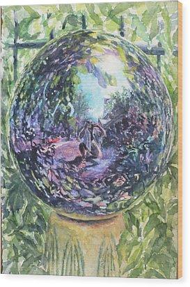 Gazing Ball Wood Print by Harriet Hazlett