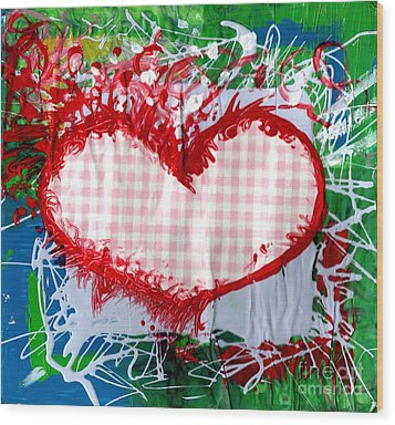 Gingham Crazy Heart Wood Print by Genevieve Esson