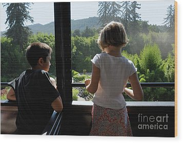 Girl And Boy Looking Out Of Train Window Wood Print by Sami Sarkis