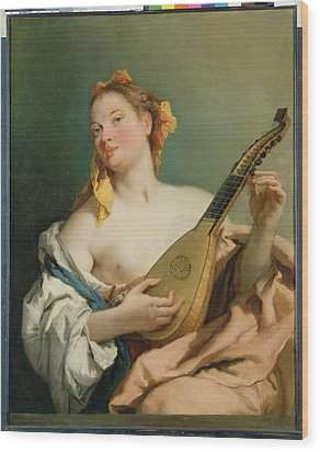 Girl With A Mandolin Wood Print by Giovanni Battista Tiepolo