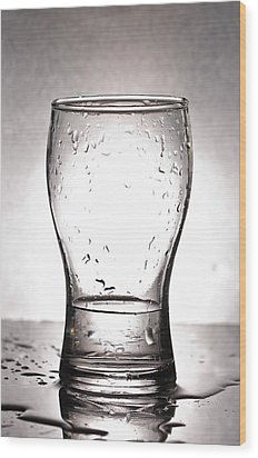 Glass With Water  Wood Print by Chatchawin Jampapha