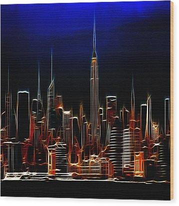 Glowing New York Wood Print by Steve K