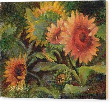Glowing Sunflowers Wood Print by Sharen AK Harris