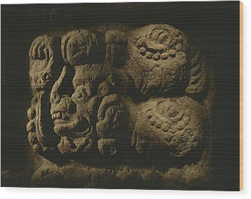 Glyph Representing The Mayan Rulers Wood Print by Kenneth Garrett