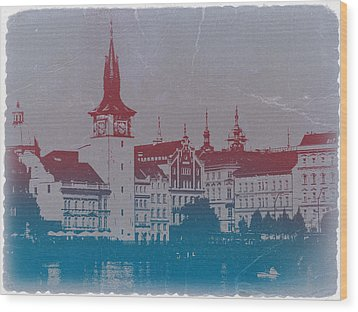Golden Prague Wood Print by Naxart Studio
