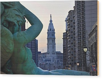 Good Morning Philadelphia Wood Print by Simon Wolter