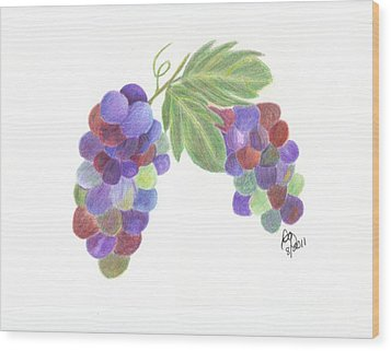 Grapes Wood Print by DebiJeen Pencils