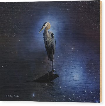 Great Blue Heron On A Starry Night Wood Print by J Larry Walker