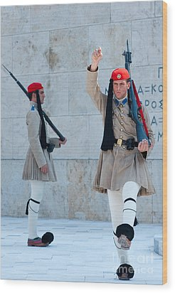 Greek Guards Wood Print by Andrew  Michael