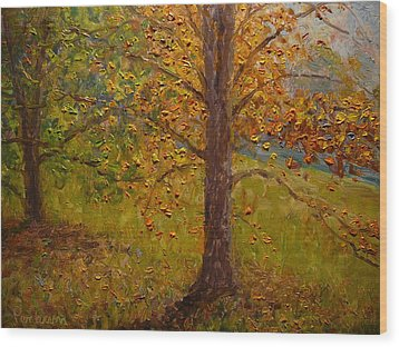 Green Turns To Gold Wood Print by Terry Perham