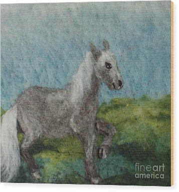 Grey Horse Wood Print by Nicole Besack