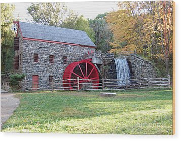Grist Mill At Wayside Inn Wood Print by John Small