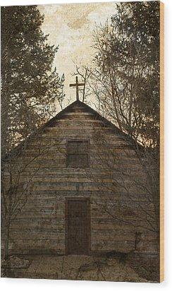Grungy Hand Hewn Log Chapel Wood Print by John Stephens
