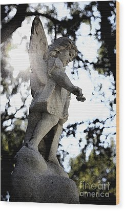 Guardian Angel With Light From Above Wood Print by Nina Prommer
