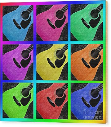 Guitar Tic Tac Toe Rainbow Wood Print by Andee Design