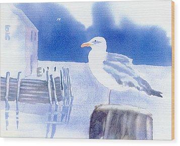 Gull Watch Wood Print by Joseph Gallant