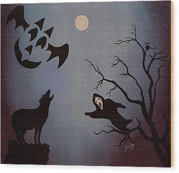 Halloween Night Party Original Painting Placemat Doormat Wood Print by Georgeta  Blanaru
