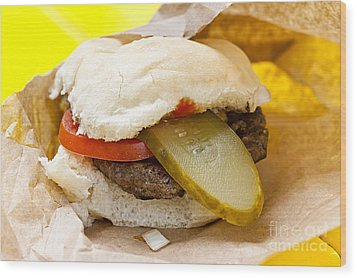 Hamburger With Pickle And Tomato Wood Print by Elena Elisseeva