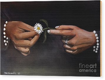 Hands And Daisy Wood Print by Kostas Koutsoukanidis