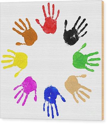 Hands Circle Wood Print by Richard Thomas