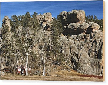 Hang A Left At The Rock Wood Print by Lynne and Don Wright