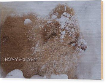 Happy Holidays Christmas Card Wood Print by Joanne Smoley