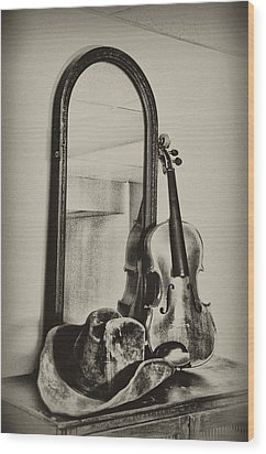 Hat And Fiddle Wood Print by Bill Cannon