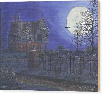 Haunted House Wood Print by Lori  Theim-Busch