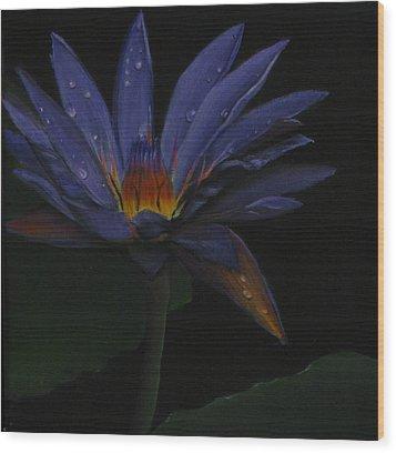 Hawaiian Water Lily - Purple Wood Print by Sherry Robinson