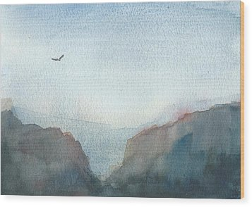 Hawk Above The Red Cliffs Wood Print by Alan Daysh