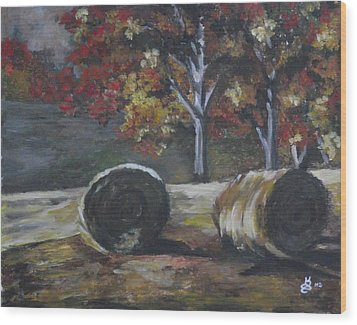 Hay Bales In Fall Wood Print by Kim Selig