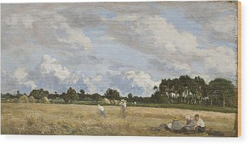 Haymaking Wood Print by Eugene Louis Boudin