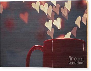 Heart In My Cup Of Coffee Wood Print by Soultana Koleska