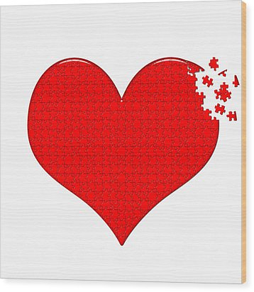 Heart Puzzle Wood Print by Hans Engbers