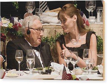 Henry Kissinger, Carla Bruni-sarkozy Wood Print by Everett