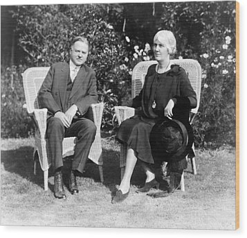 Herbert Hoover Seated With His Wife Wood Print by International  Images