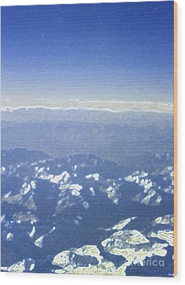 Himalayas Blue Wood Print by First Star Art